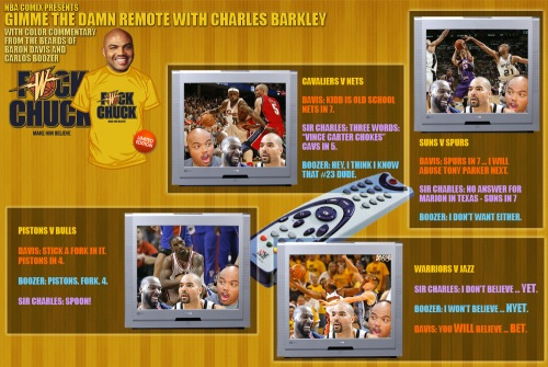 Gimme the Damn Remote with Charles Barkley and color commentary from the beards of Baron Davis and Carlos Boozer