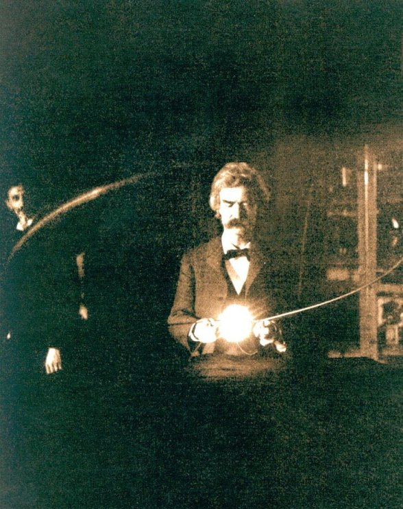 Mark Twain in the Laboratory of Nikola Tesla